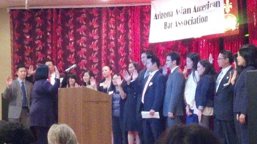 New board of the Arizona Asian American Bar Association sworn in by Judge Roxanne Song Ong, Feb. 13, 2014, Chandler, Ariz.