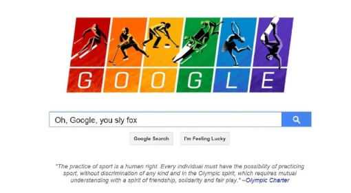 Google home page, Feb. 6, 2014 (and yes, the search commentary is mine).