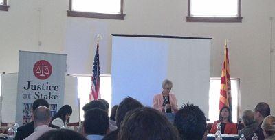 Former Chief Justice Ruth McGregor delivers keynote remarks at panel on judicial diversity, Phoenix, Ariz., Feb. 27, 2014.