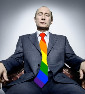 No, Vladimir Putin did not pick his own tie. Why do you ask? rainbow tie