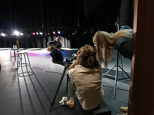 Doug Passon being photographed by Karen Shell, foreground, Tempe Center for the Arts, March 3, 2014.