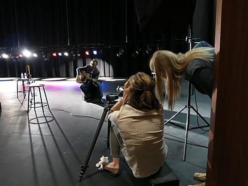 Photographer Karen Shell (left) and Art Director Karen Holub consult on a shot.