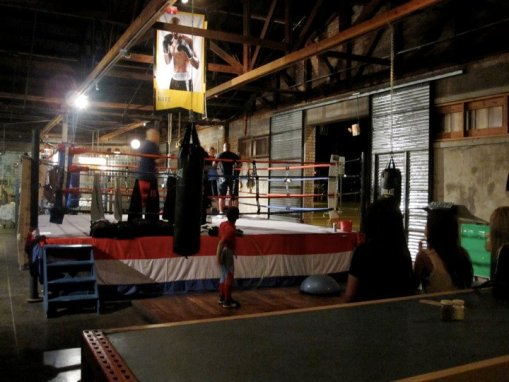 Boxing at The Duce: Two enter, hopefully closer colleagues exit.