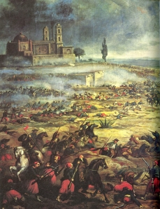 Charge of the Mexican Cavalry at the Battle of Puebla (image via Wikipedia)