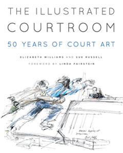 Illustrated Courtroom book cover sketch artist