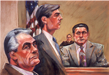 John Gotti Meets Sammy the Bull in Court by Ruth Pollack courtroom sketch artist