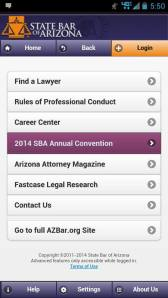 State Bar of Arizona Convention app opening page
