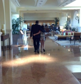 After being elected Secretary-Treasurer by his board peers, Geoffrey Trachtenberg walks the Westin lobby with one of his daughters.