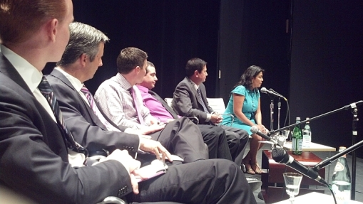 My view of the Phoenix City Council District 4 candidates, May 13, 2013. Scott Fistler is in the center (pink shirt).