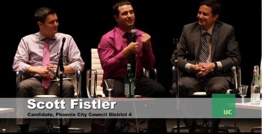 Scott Fistler, center, speaks at the Urban Choices Phoenix District 4 forum, May 15, 2013.