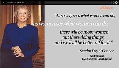 Screen-shot from Federal Bar Association video on its Women and the Law conference, to be held on July 11, 2014.