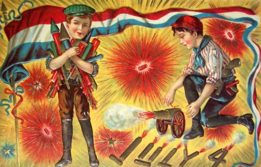 A vintage Independence Day card wishes you an explosive holiday.