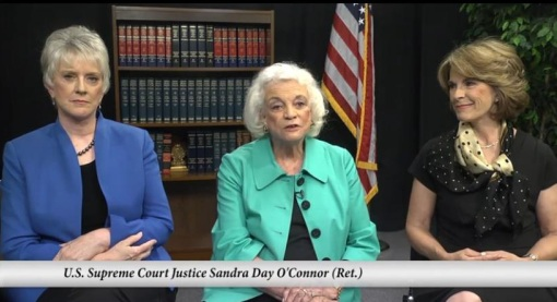 In a video screen-shot, Justice Sandra Day O'Connor (center) describes a proposed judicial selection plan.