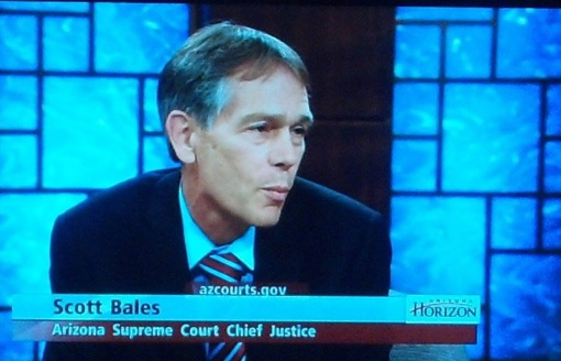 Chief Justice Scott Bales on the Arizona PBS program Horizon, July 9, 2014.