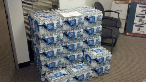 One of the many State Bar of Arizona offices and cubicles you'll find donated water stored.