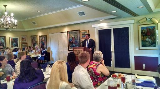 Mark Brnovich speaks at the debate of Arizona Attorney General candidates at a forum sponsored by the Arizona Women Lawyers Association, Sept. 24, 2014.