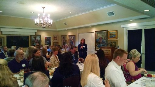 Felecia Rotellini speaks at the debate of Arizona Attorney General candidates at a forum sponsored by the Arizona Women Lawyers Association, Sept. 24, 2014.