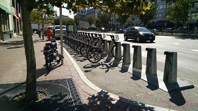 Boston bike-share occupies space formerly used for cars.