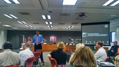 Attorney Rodney Glassman speaks to educators at the Madison Elementary District offices, Sept. 15, 2014.