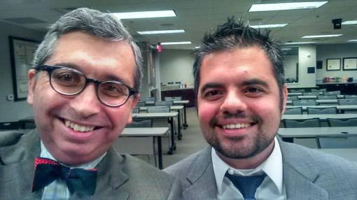 Anthony Tsontakis (right) and I take a moment before videotaping our conversation about a 1912 nomination battle.