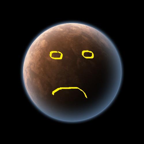 Pluto planet glow sad
