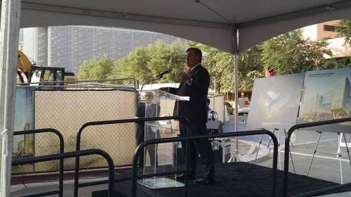 President Michael Crow speaks at the groundbreaking, Nov. 13, 2014.