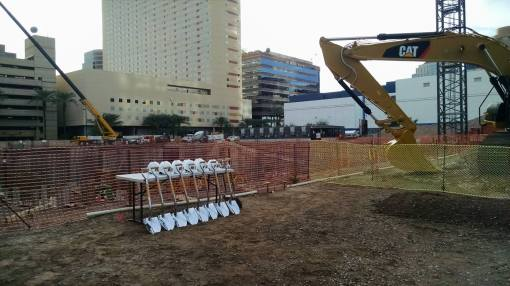 Shovels await their users at the ASU groundbreaking, Nov. 13, 2014.