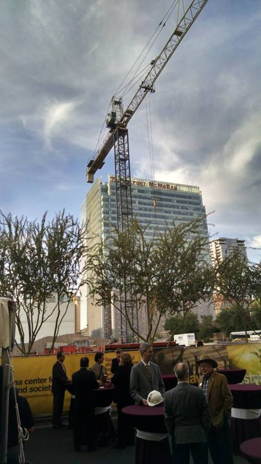Construction crane on the site of ASU's Center for Law & Society in downtown Phoenix.