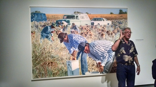 "Artist Don Coen speaks before the opening of his ""Migrant Series,"" Phoenix Art Museum, Oct. 17, 2014."