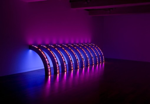 Jenny Holzer, Ribs, 2010. Eleven LED signs with blue, red and white diodes, text: US government documents, 58 1/4 x 5 1/4 x 5 3/4 inches each. Courtesy of the artist and Cheim & Read, New York. © 2010 Jenny Holzer, member Artists Rights Society (ARS), New York. Photo: Richard-Max Tremblay.