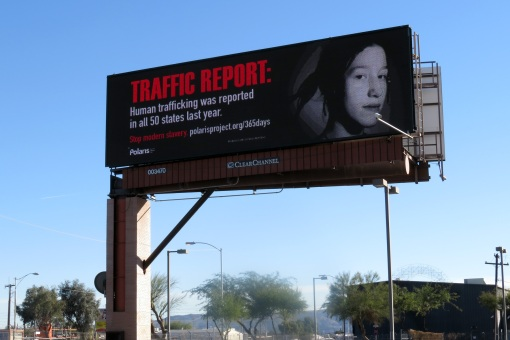 An Arizona public-information campaign sponsored by Clear Channel features billboards educating on human trafficking.