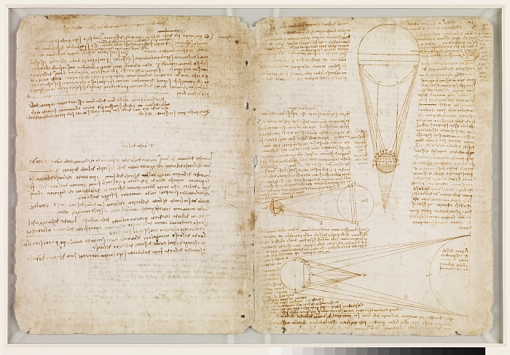 Two pages from Leonardo da Vinci's Codex Leicester, displayed at the Phoenix Art Museum from Jan. 24, 2015, through April 12, 2015.