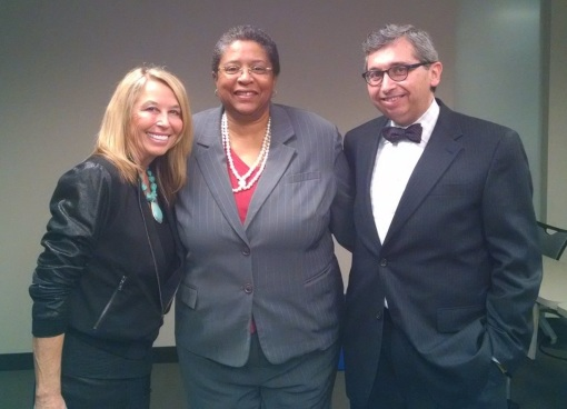 Arizona Summit Law professors Jalae Ulicki (left) and Penny Willrich with Arizona Attorney Editor Tim Eigo, Jan. 20, 2015, after taping of an educational video on mediation as a healing art.