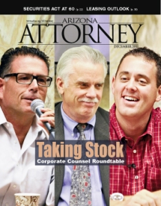 That's Mike Reagan (right, in the red shirt) on our December 2011 cover. Arizona Attorney Magazine Dec. 2011 cover