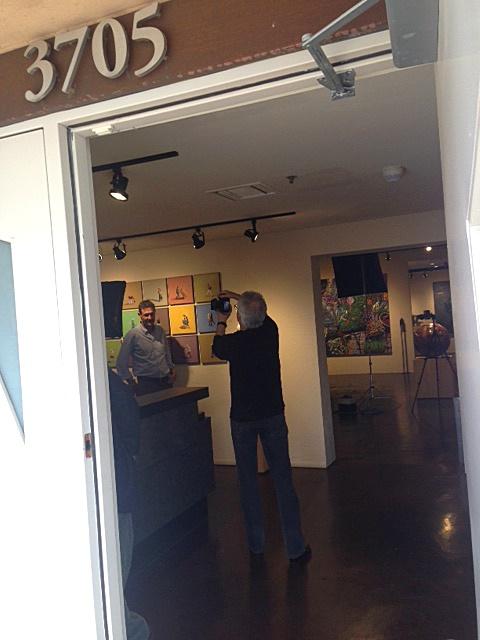 Photographer John Hall with attorney Mark Bockel at the Arizona Attorney Magazine arts photo shoot, Larsen Gallery, Scottsdale, March 12, 2015.
