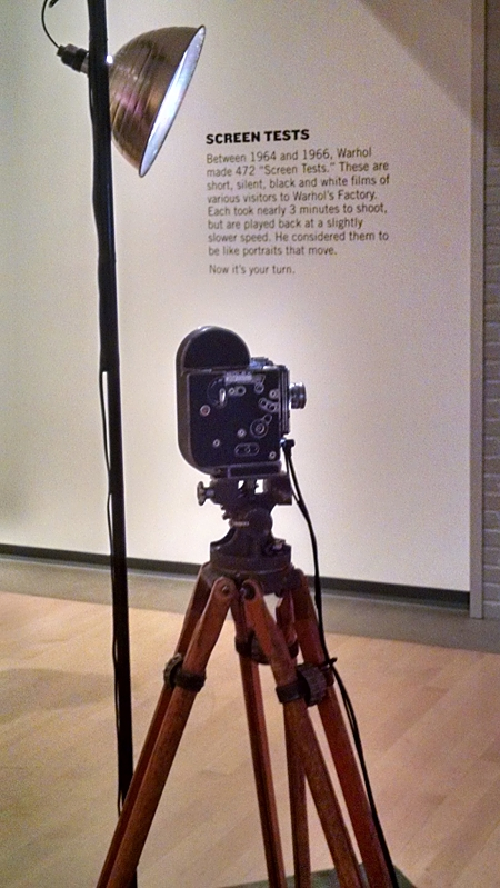 Camera and lighting for personal screen test area, Phoenix Art Museum, Andy Warhol: Portraits