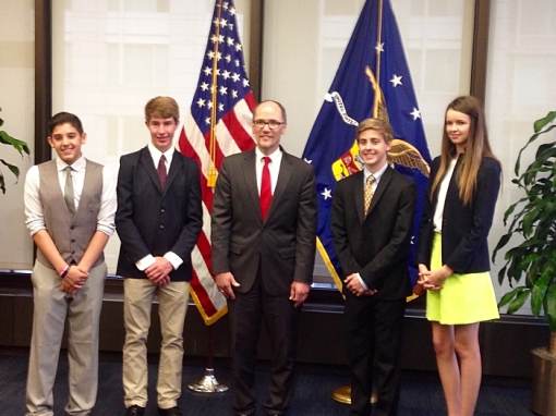 U.S. Department of Labor Secretary Tom Perez meets with Arizona high school students who won first place in the ABA's 2015 Magna Carta video competition, April 2015.