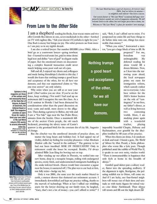 My Last Word by Gary Fry, Arizona Attorney Magazine, April 2015