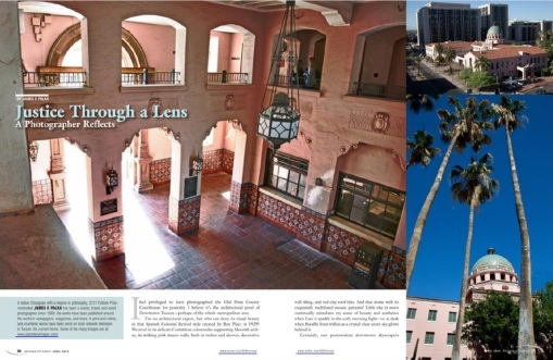 Our opening spread for coverage of the Pima County Courthouse, April 2015.