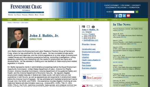 Screenshot of John Balitis' page on the Fennemore Craig website, April 3, 2015.