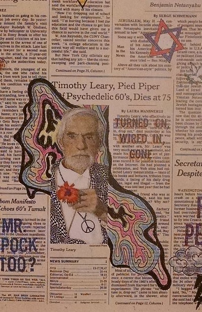 Timothy Leary's death on the New York Times front page, as modified by artist Nancy Chunn (her book is at http://www.amazon.com/Front-Pages-exhibition-catalogue-Nancy/dp/0847820815)