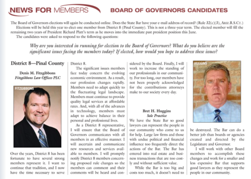 Pinal County candidate statements in the May 2015 Arizona Attorney Magazine.