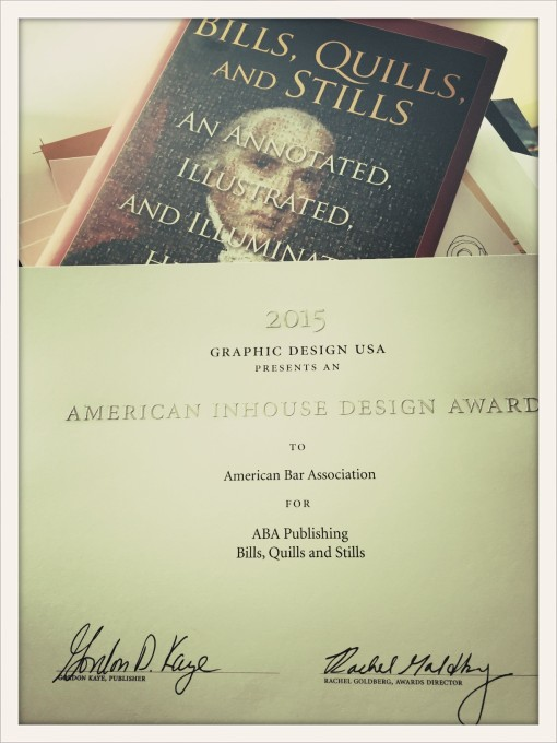 Bills, Quills and Stills book cover honored with a national design award.