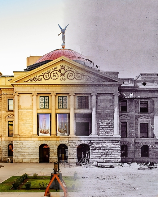 The Historic Arizona State Capitol Building as it was being built at the turn of the 20th Century to today. (Photo illustration by Justin Painter, Arizona Capitol Museum)