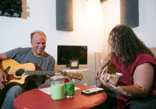 Former Arizona attorney general Grant Woods (left) works on a song with guitarist Michael Nitro at 3 Leaf Recording in Phoenix on Tuesday, May 19, 2015. (Photo: Michael Schennum/Ariz. Republic)
