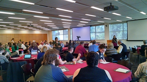 A crowded room of people gather for the annual conference of the ASU Prison Education Awareness Club, March 27, 2015.