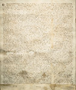 A photo of a 1297 version of Magna Carta (Sotheby's, via Associated Press)