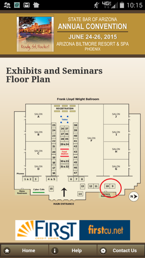 The Arizona Attorney booth is circled in red (Booth # 10!).