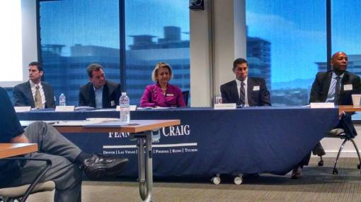 Cybersecurity panel at Fennemore Craig, May 14, 2015, L to R: Jim Knapp, U.S. Attorney's Office; Jonathan Fairtlough, Kroll; Sarah Strunk, Fennemore Craig; Martin Hellmer, FBI; and Melvin Glapion, Kroll.