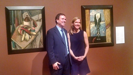 Curators amidst their works: Jerry Smith (Phoenix Art Museum) and Catherine Whitney (Philbrook Museum),